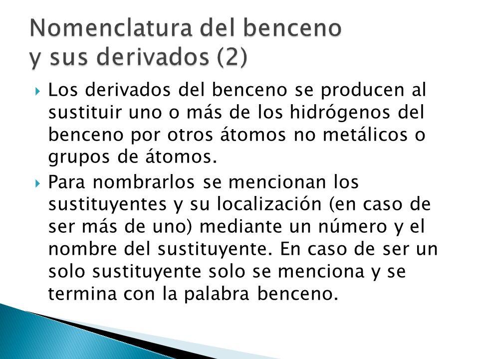 Los derivados del benceno se producen al sustituir uno o más de los hidrógenos del benceno por otros átomos no metálicos o grupos de átomos. Para nomb