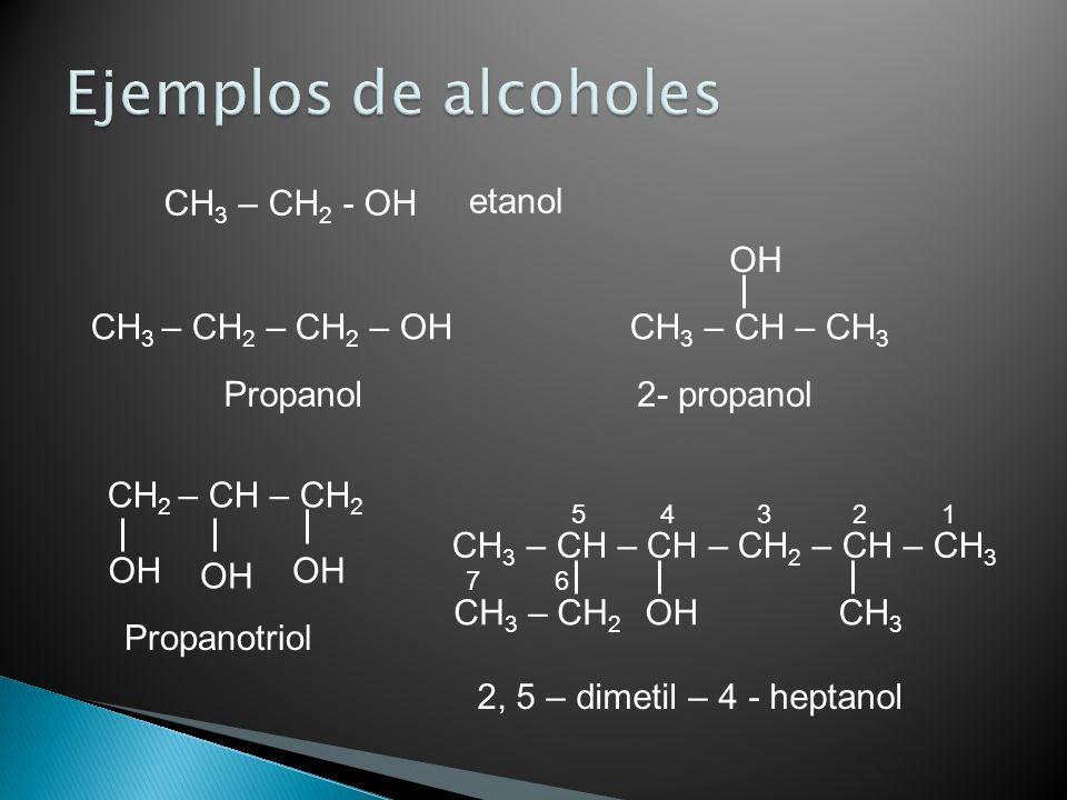 CH 3 – CH 2 - OH CH 3 – CH 2 – CH 2 – OH CH 3 – CH – CH 3 OH Propanol CH 2 – CH – CH 2 OH Propanotriol etanol CH 3 – CH – CH – CH 2 – CH – CH 3 CH 3 –