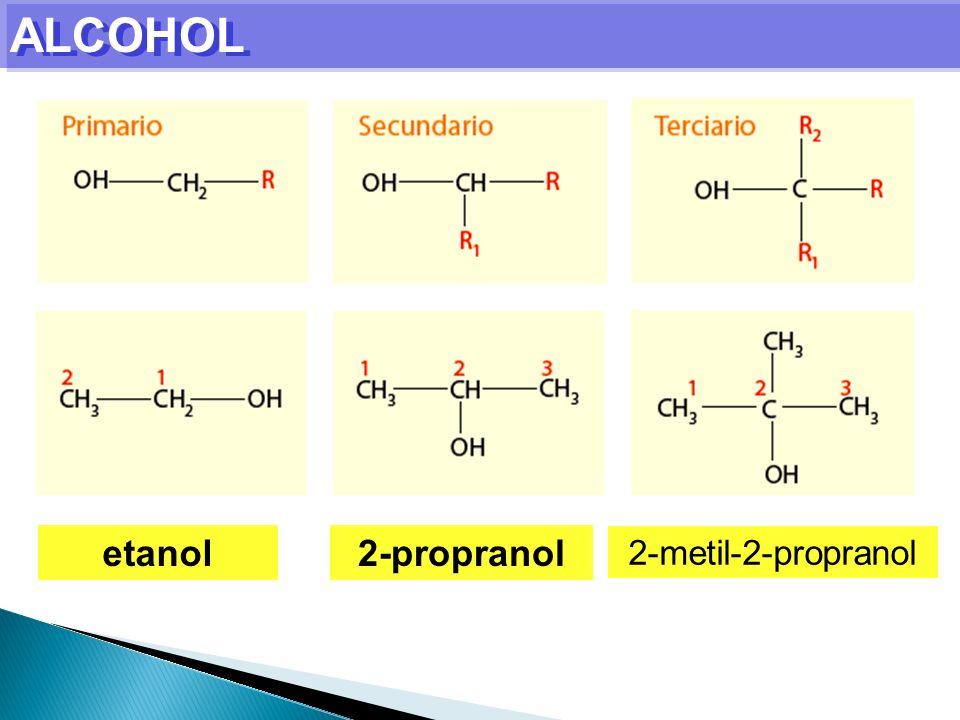 ALCOHOL etanol2-propranol 2-metil-2-propranol