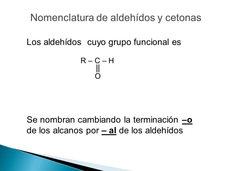 Los aldehídos cuyo grupo funcional es Se nombran cambiando la terminación –o de los alcanos por – al de los aldehídos R – C – H O Nomenclatura de alde