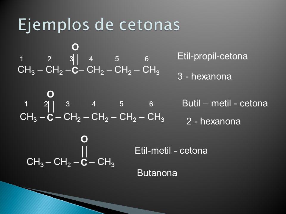 Etil-propil-cetona 3 - hexanona Butil – metil - cetona 2 - hexanona Etil-metil - cetona Butanona CH 3 – CH 2 – – CH 2 – CH 2 – CH 3 1 2 3 4 5 6 C O CH