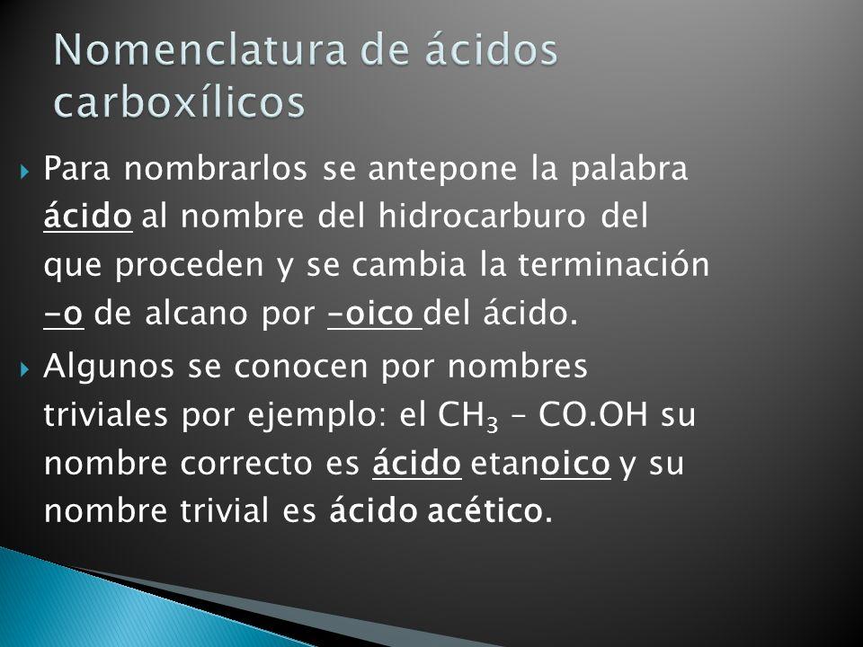 Para nombrarlos se antepone la palabra ácido al nombre del hidrocarburo del que proceden y se cambia la terminación -o de alcano por –oico del ácido.