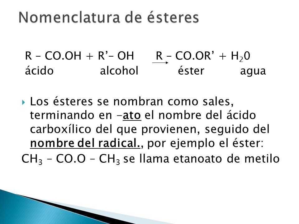 R – CO.OH + R– OH R – CO.OR + H 2 0 ácido alcohol éster agua Los ésteres se nombran como sales, terminando en -ato el nombre del ácido carboxílico del