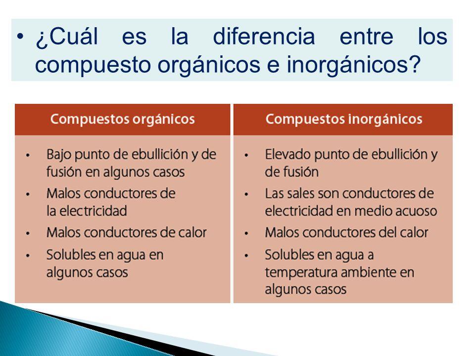 ¿Cuál es la diferencia entre los compuesto orgánicos e inorgánicos?