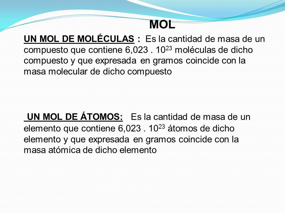 La masa en gramos de un mol de un elemento o compuesto, es un número igual a su masa atómica o molecular, respectivamente. Si M es la masa atómica (o
