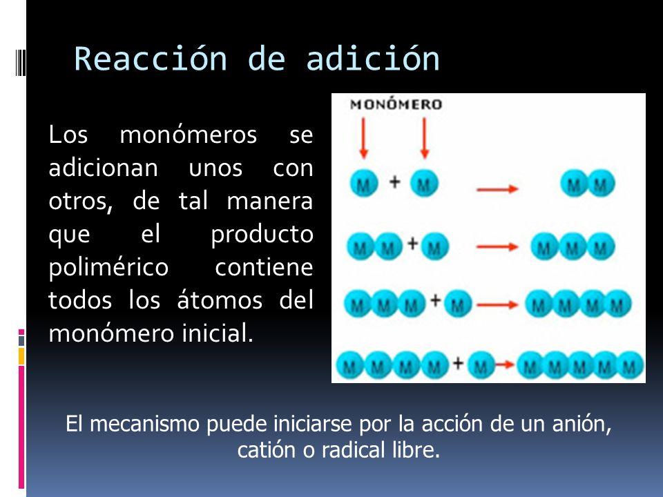 Reacción de adición Los monómeros se adicionan unos con otros, de tal manera que el producto polimérico contiene todos los átomos del monómero inicial