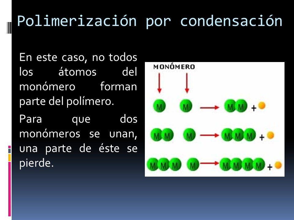 Polimerización por condensación En este caso, no todos los átomos del monómero forman parte del polímero. Para que dos monómeros se unan, una parte de