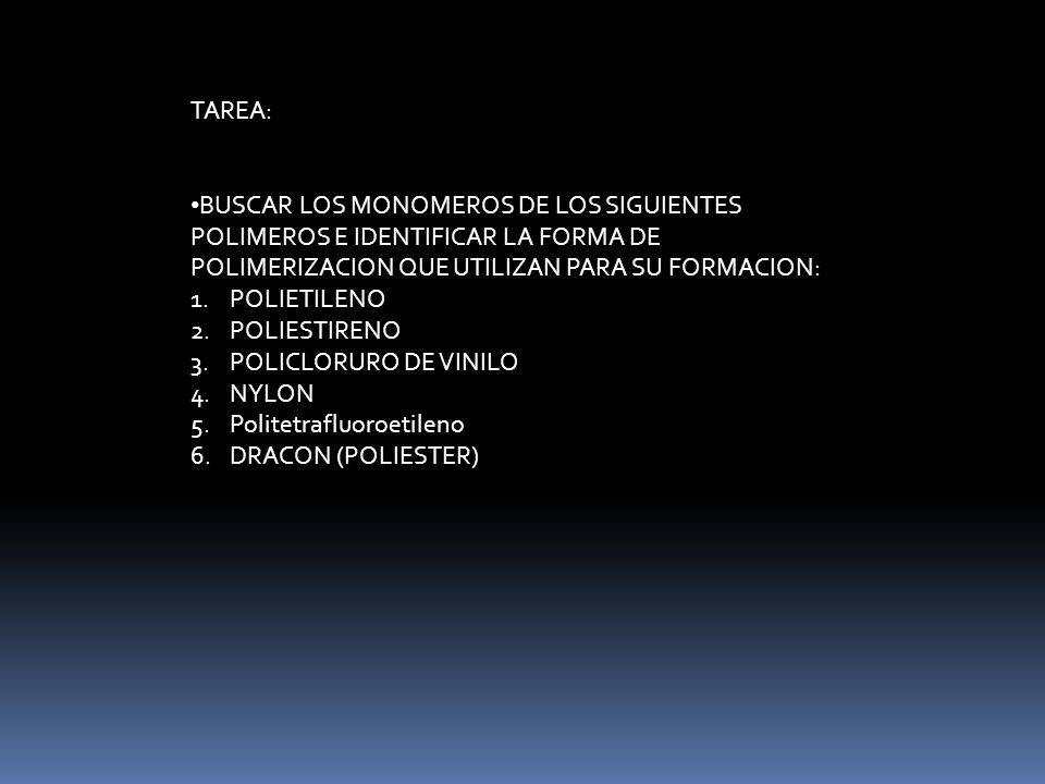 TAREA: BUSCAR LOS MONOMEROS DE LOS SIGUIENTES POLIMEROS E IDENTIFICAR LA FORMA DE POLIMERIZACION QUE UTILIZAN PARA SU FORMACION: 1.POLIETILENO 2.POLIE