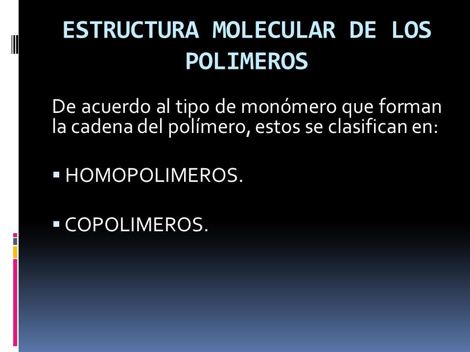 ESTRUCTURA MOLECULAR DE LOS POLIMEROS De acuerdo al tipo de monómero que forman la cadena del polímero, estos se clasifican en: HOMOPOLIMEROS. COPOLIM