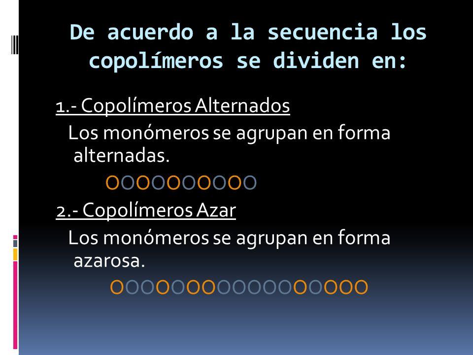 De acuerdo a la secuencia los copolímeros se dividen en: 1.- Copolímeros Alternados Los monómeros se agrupan en forma alternadas. ΟΟΟΟΟΟΟΟΟΟ 2.- Copol