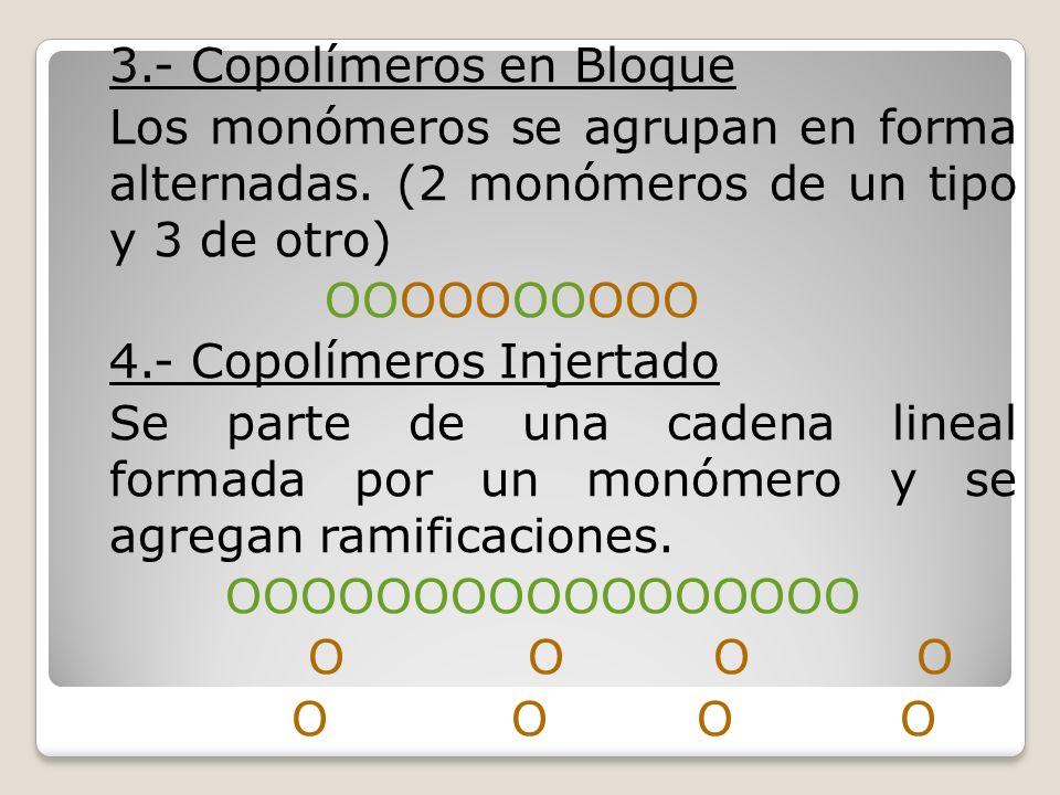 3.- Copolímeros en Bloque Los monómeros se agrupan en forma alternadas. (2 monómeros de un tipo y 3 de otro) ΟΟΟΟΟΟΟΟΟΟ 4.- Copolímeros Injertado Se p