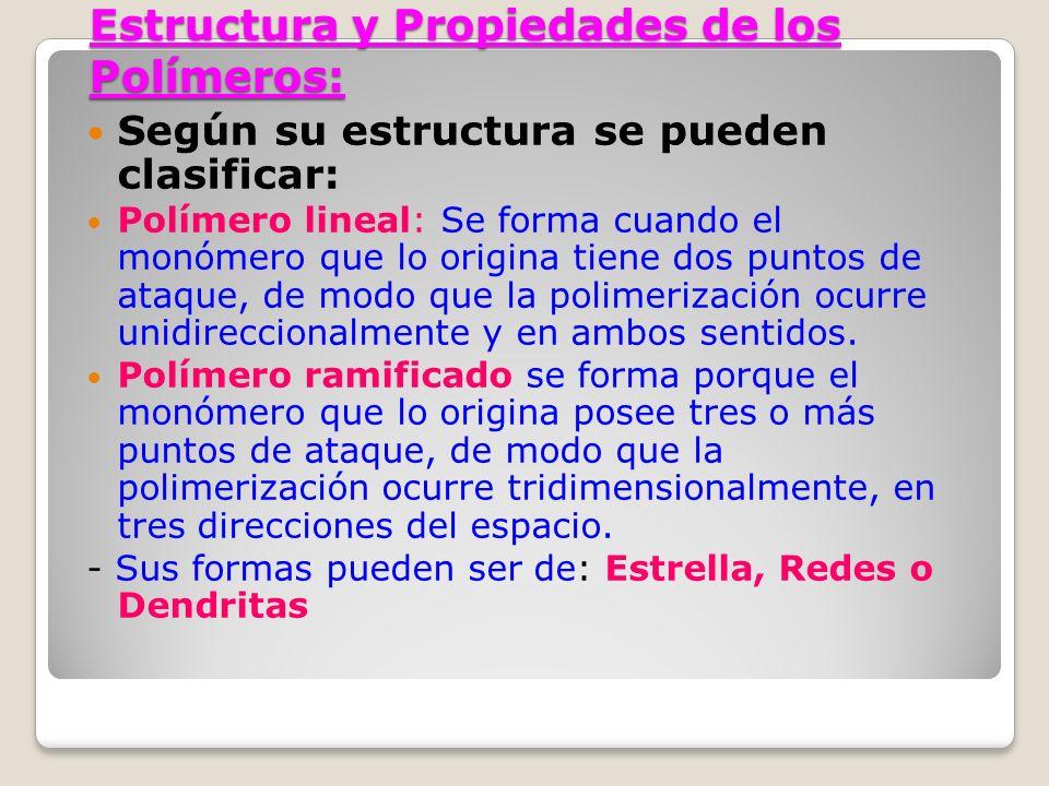 Estructura y Propiedades de los Polímeros: Según su estructura se pueden clasificar: Polímero lineal: Se forma cuando el monómero que lo origina tiene