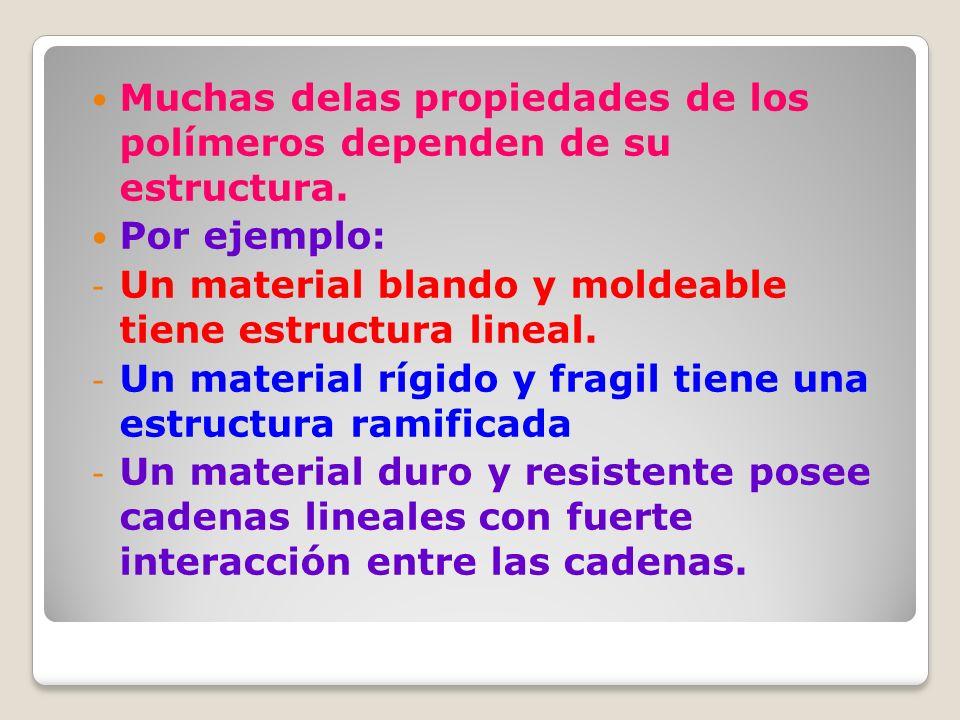 Muchas delas propiedades de los polímeros dependen de su estructura. Por ejemplo: - Un material blando y moldeable tiene estructura lineal. - Un mater