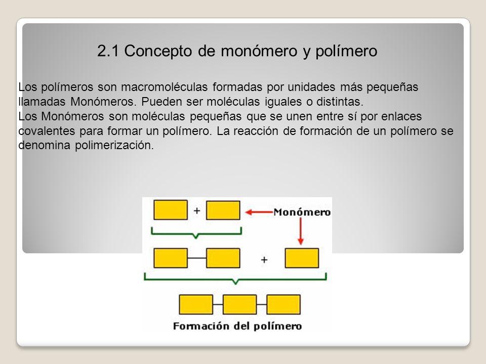 2.1 Concepto de monómero y polímero Los polímeros son macromoléculas formadas por unidades más pequeñas llamadas Monómeros. Pueden ser moléculas igual