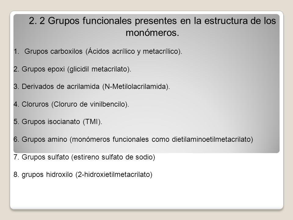 2. 2 Grupos funcionales presentes en la estructura de los monómeros. 1.Grupos carboxilos (Ácidos acrílico y metacrílico). 2. Grupos epoxi (glicidil me