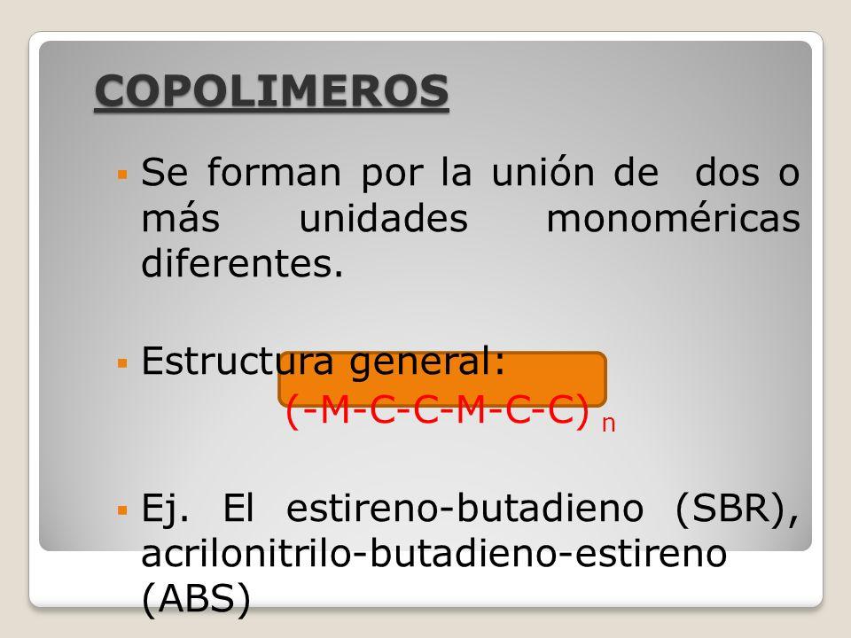 COPOLIMEROS Se forman por la unión de dos o más unidades monoméricas diferentes. Estructura general: (-M-C-C-M-C-C) n Ej. El estireno-butadieno (SBR),