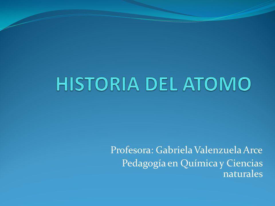 Profesora: Gabriela Valenzuela Arce Pedagogía en Química y Ciencias naturales