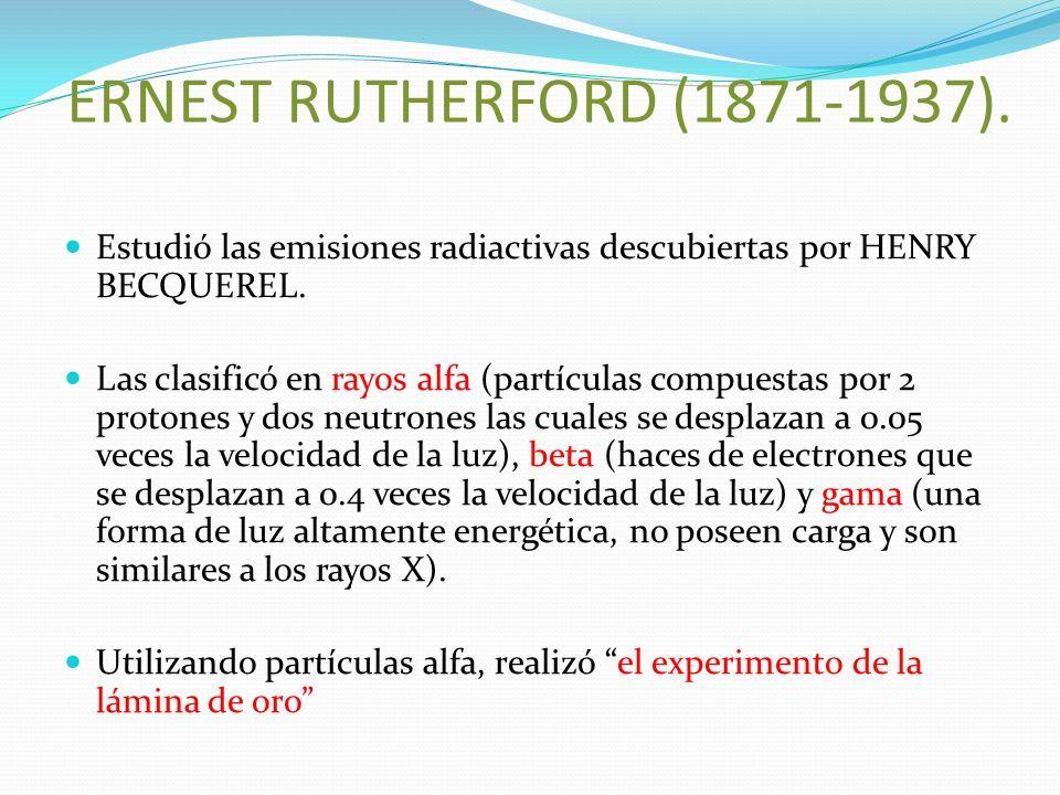 ERNEST RUTHERFORD (1871-1937). Estudió las emisiones radiactivas descubiertas por HENRY BECQUEREL. Las clasificó en rayos alfa (partículas compuestas