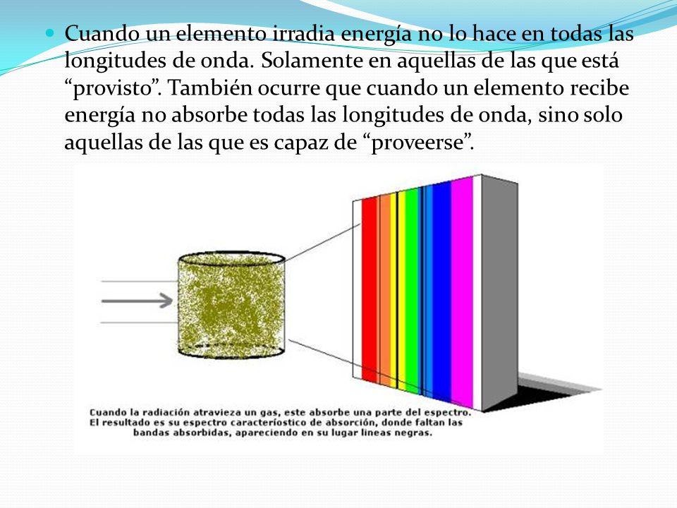 Cuando un elemento irradia energía no lo hace en todas las longitudes de onda. Solamente en aquellas de las que está provisto. También ocurre que cuan