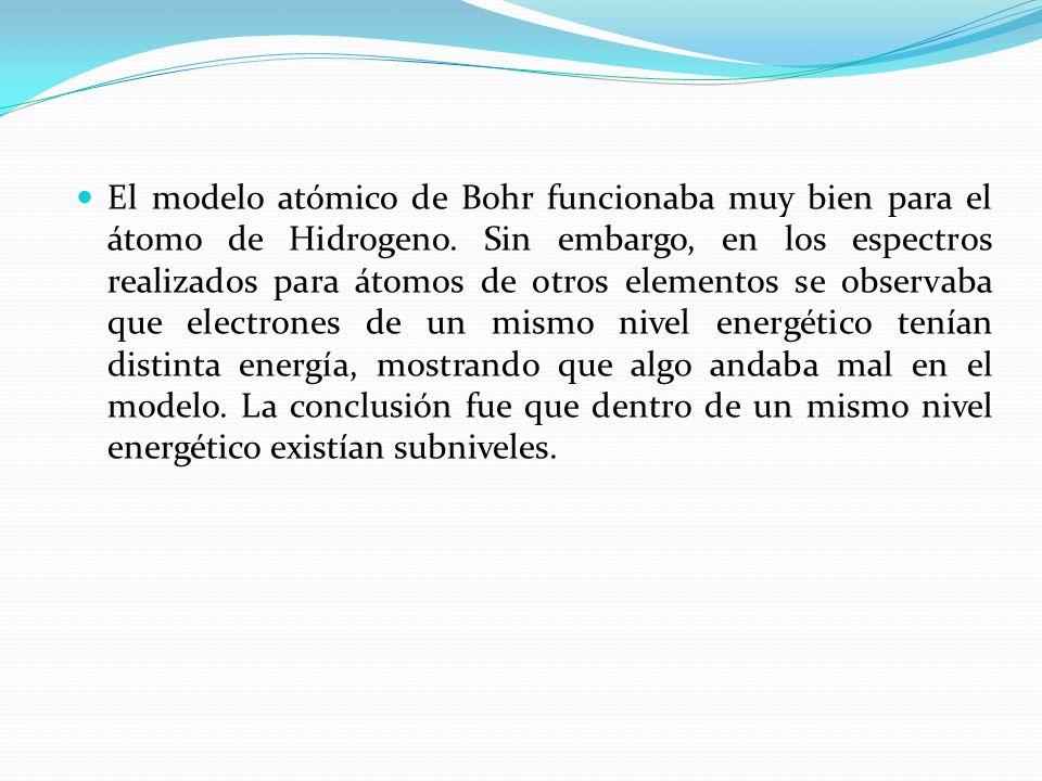 El modelo atómico de Bohr funcionaba muy bien para el átomo de Hidrogeno. Sin embargo, en los espectros realizados para átomos de otros elementos se o