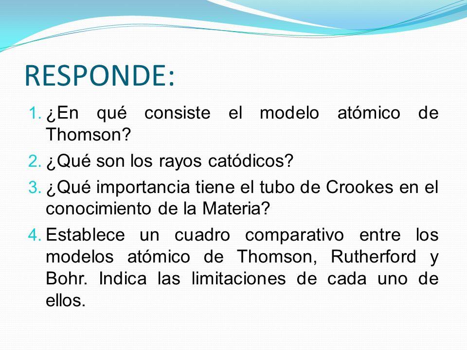 RESPONDE: 1. ¿En qué consiste el modelo atómico de Thomson? 2. ¿Qué son los rayos catódicos? 3. ¿Qué importancia tiene el tubo de Crookes en el conoci