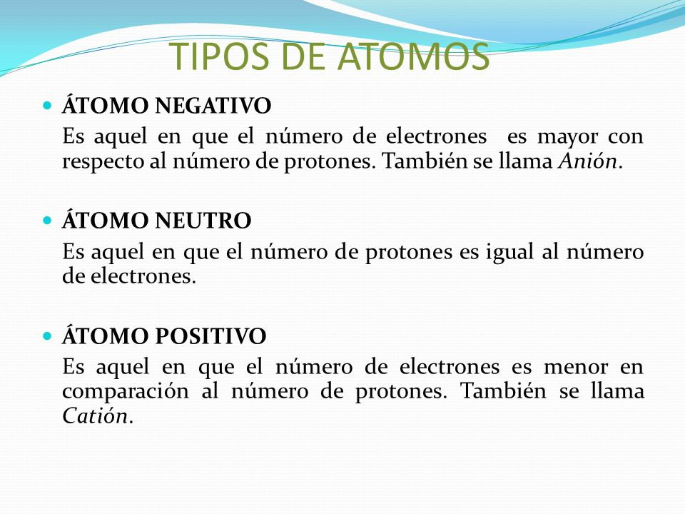 TIPOS DE ATOMOS ÁTOMO NEGATIVO Es aquel en que el número de electrones es mayor con respecto al número de protones. También se llama Anión. ÁTOMO NEUT
