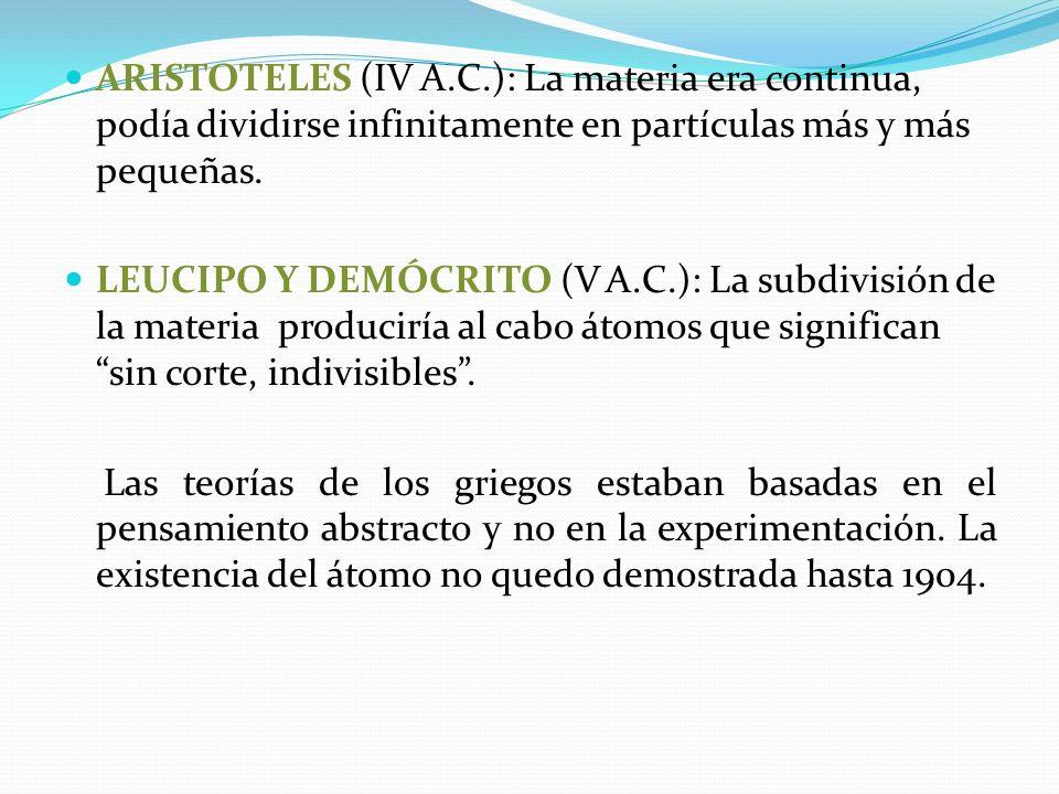 ARISTOTELES (IV A.C.): La materia era continua, podía dividirse infinitamente en partículas más y más pequeñas. LEUCIPO Y DEMÓCRITO (V A.C.): La subdi