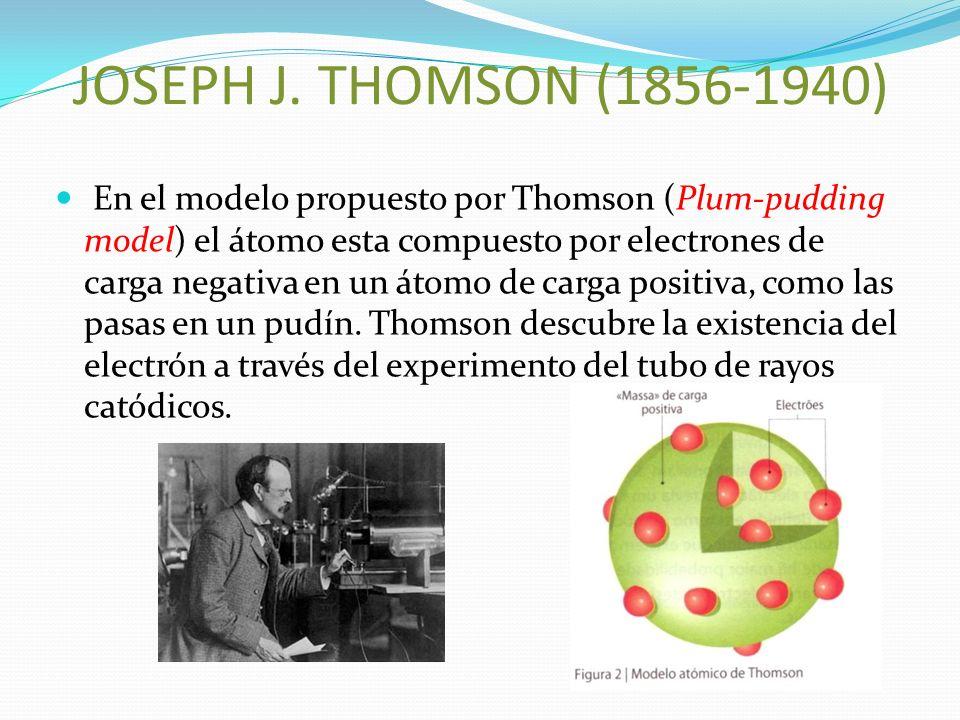JOSEPH J. THOMSON (1856-1940) En el modelo propuesto por Thomson (Plum-pudding model) el átomo esta compuesto por electrones de carga negativa en un á