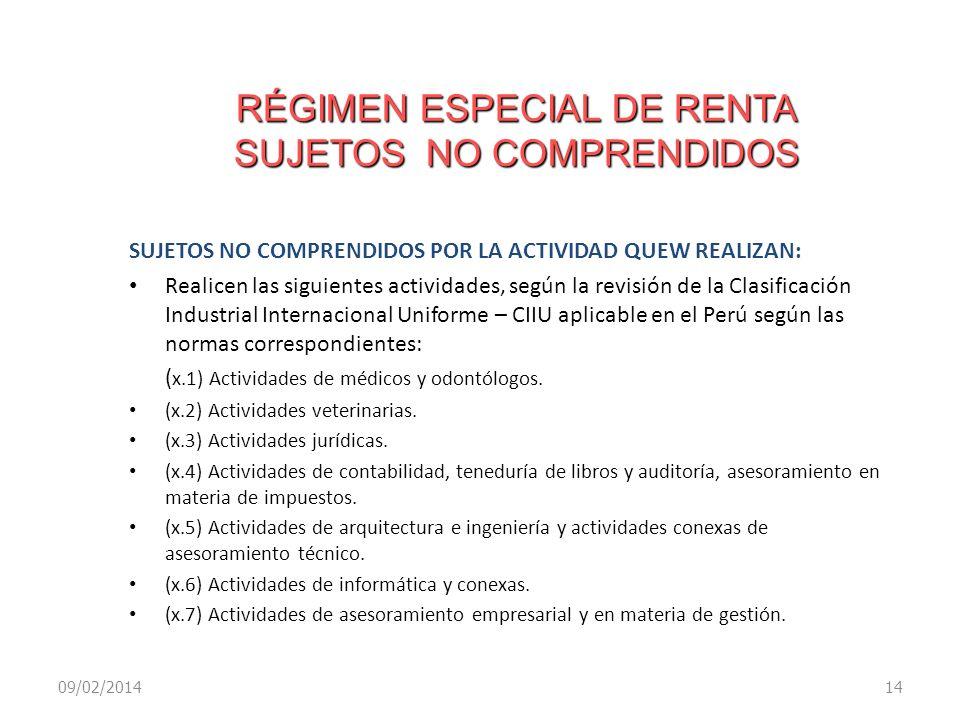 RÉGIMEN ESPECIAL DE RENTA SUJETOS NO COMPRENDIDOS SUJETOS NO COMPRENDIDOS POR LA ACTIVIDAD QUEW REALIZAN: Realicen las siguientes actividades, según l