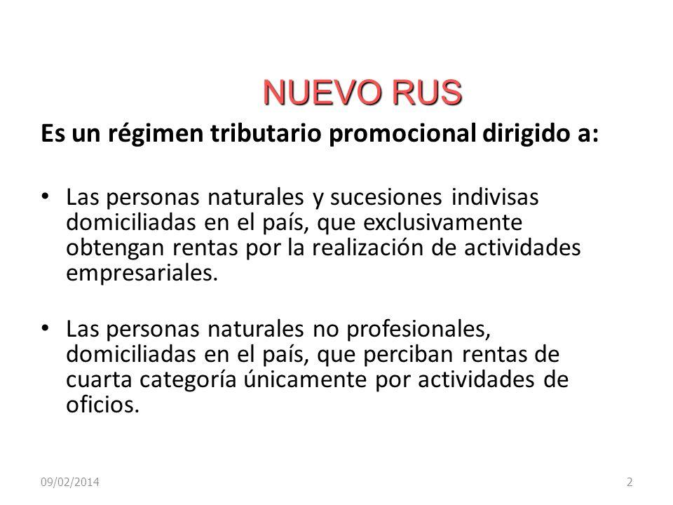 NUEVO RUS 09/02/20142 Es un régimen tributario promocional dirigido a: Las personas naturales y sucesiones indivisas domiciliadas en el país, que excl