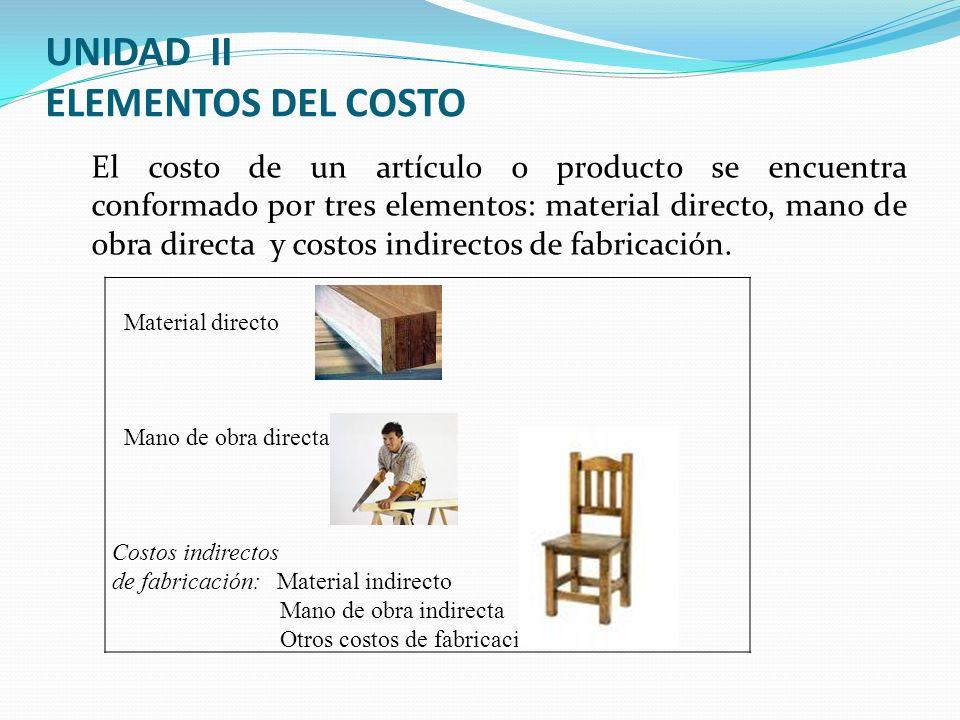 UNIDAD II ELEMENTOS DEL COSTO El costo de un artículo o producto se encuentra conformado por tres elementos: material directo, mano de obra directa y