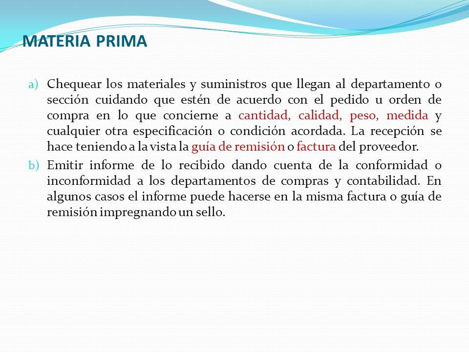 MATERIA PRIMA DEPARTAMENTOS QUE INTERVIENEN Departamento de Almacén.- Se encarga de la custodia y entrega de materiales a la planta de producción.