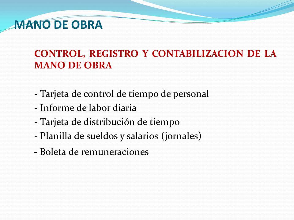 MANO DE OBRA CONTROL, REGISTRO Y CONTABILIZACION DE LA MANO DE OBRA - Tarjeta de control de tiempo de personal - Informe de labor diaria - Tarjeta de