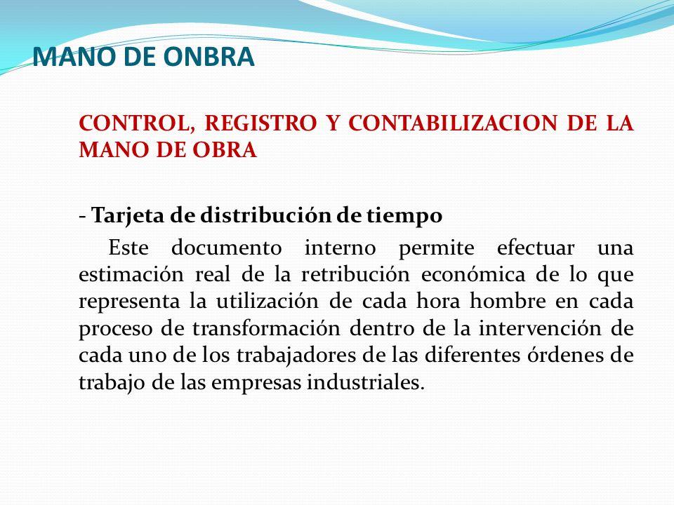 MANO DE ONBRA CONTROL, REGISTRO Y CONTABILIZACION DE LA MANO DE OBRA - Tarjeta de distribución de tiempo Este documento interno permite efectuar una e