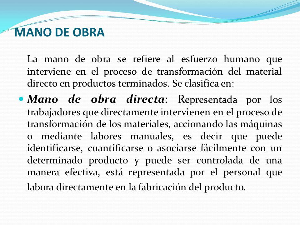 MANO DE OBRA La mano de obra se refiere al esfuerzo humano que interviene en el proceso de transformación del material directo en productos terminados