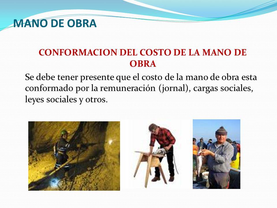 MANO DE OBRA CONFORMACION DEL COSTO DE LA MANO DE OBRA COSTO DE MANO DE = SUELDO O SALARIO + CARGAS SOCIALES + LEYES SOCIALES OBRA CARGAS SOCIALES (Por mes) LEYES SOCIALES (Por mes) EsSalud 9% SENATI 0.75% SCTR 1.04% Vacaciones 1/12 CTS1/12 Gratificac.1/6