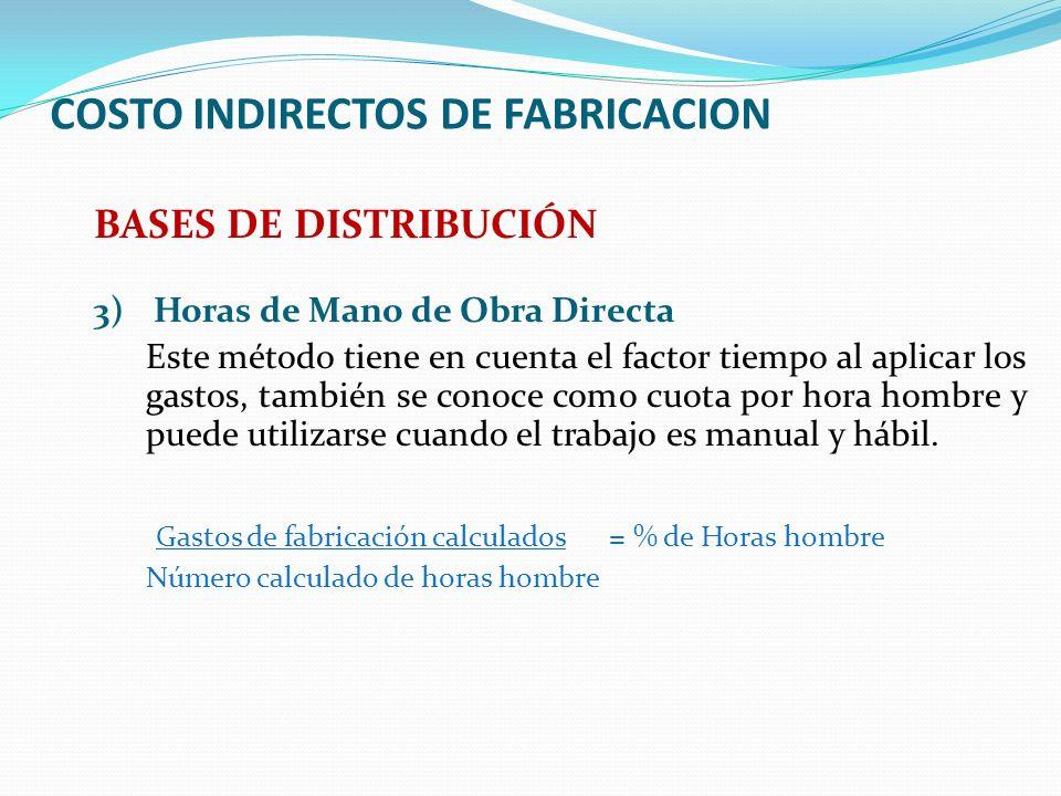 COSTO INDIRECTOS DE FABRICACION BASES DE DISTRIBUCIÓN 3) Horas de Mano de Obra Directa Este método tiene en cuenta el factor tiempo al aplicar los gas