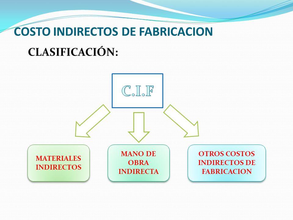 COSTO INDIRECTOS DE FABRICACION CLASIFICACIÓN: MATERIALES INDIRECTOS MANO DE OBRA INDIRECTA OTROS COSTOS INDIRECTOS DE FABRICACION