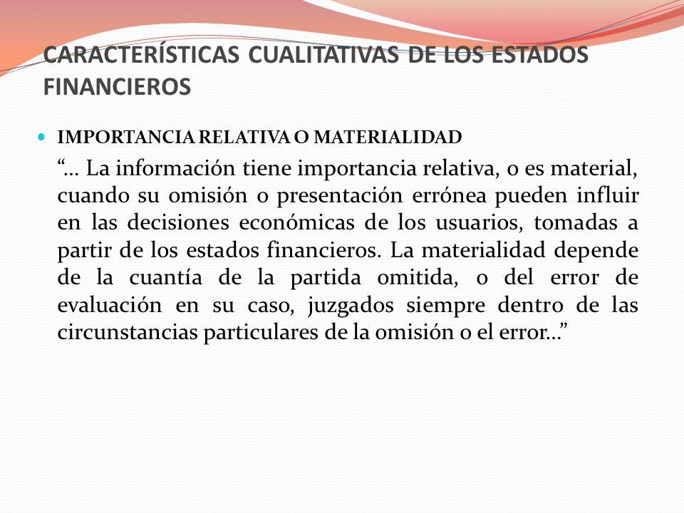 CARACTERÍSTICAS CUALITATIVAS DE LOS ESTADOS FINANCIEROS IMPORTANCIA RELATIVA O MATERIALIDAD … La información tiene importancia relativa, o es material