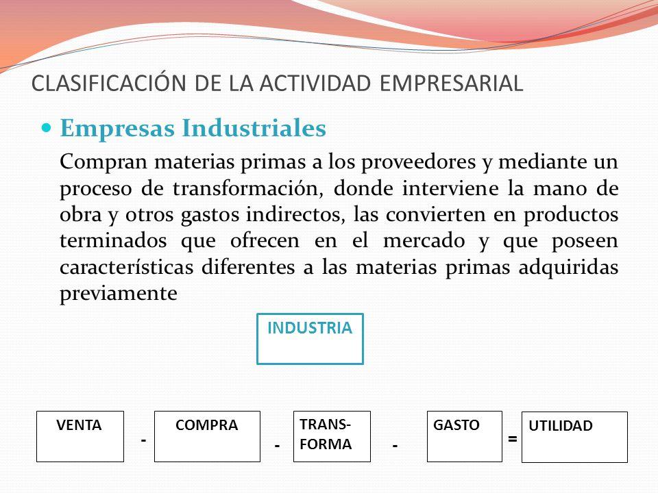 CLASIFICACIÓN DE LA ACTIVIDAD EMPRESARIAL Empresas Industriales Compran materias primas a los proveedores y mediante un proceso de transformación, don