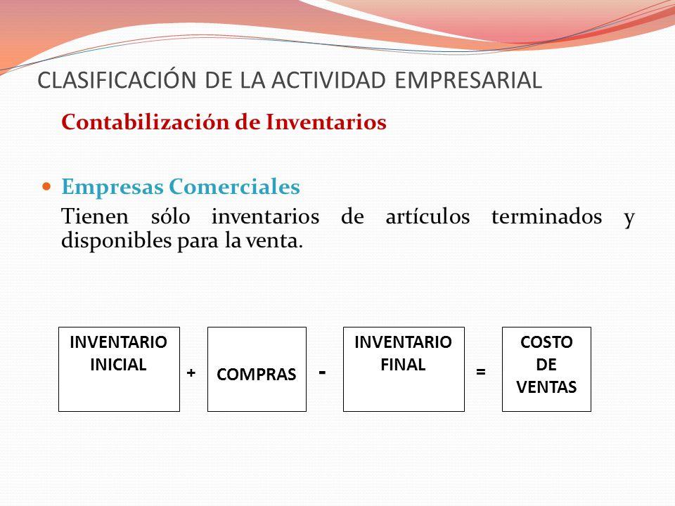 CLASIFICACIÓN DE LA ACTIVIDAD EMPRESARIAL Contabilización de Inventarios Empresas Comerciales Tienen sólo inventarios de artículos terminados y dispon
