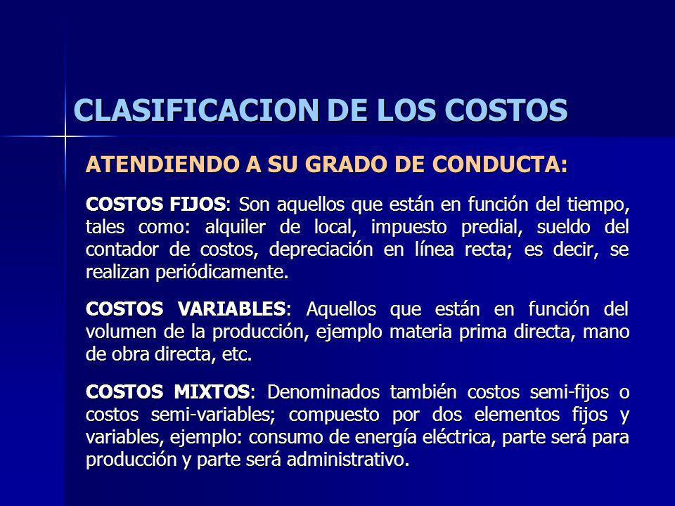 CLASIFICACION DE LOS COSTOS ATENDIENDO A SU GRADO DE CONDUCTA: COSTOS FIJOS: Son aquellos que están en función del tiempo, tales como: alquiler de loc