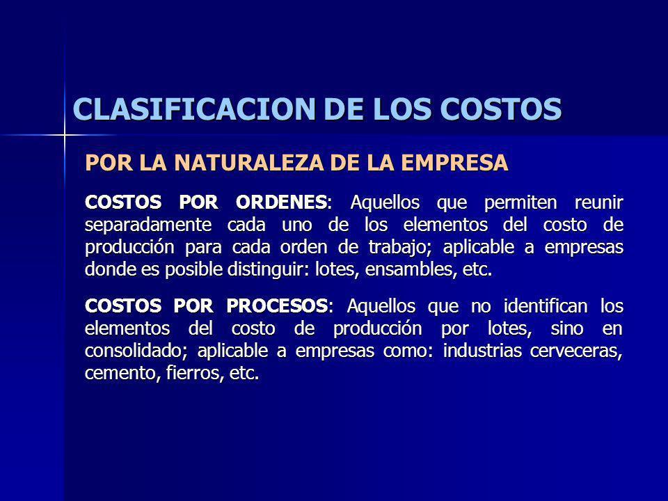 CLASIFICACION DE LOS COSTOS POR LA NATURALEZA DE LA EMPRESA COSTOS POR ORDENES: Aquellos que permiten reunir separadamente cada uno de los elementos d