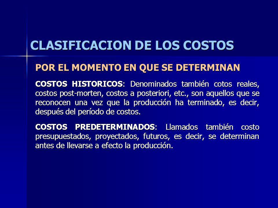 CLASIFICACION DE LOS COSTOS POR EL MOMENTO EN QUE SE DETERMINAN COSTOS HISTORICOS: Denominados también cotos reales, costos post-morten, costos a post