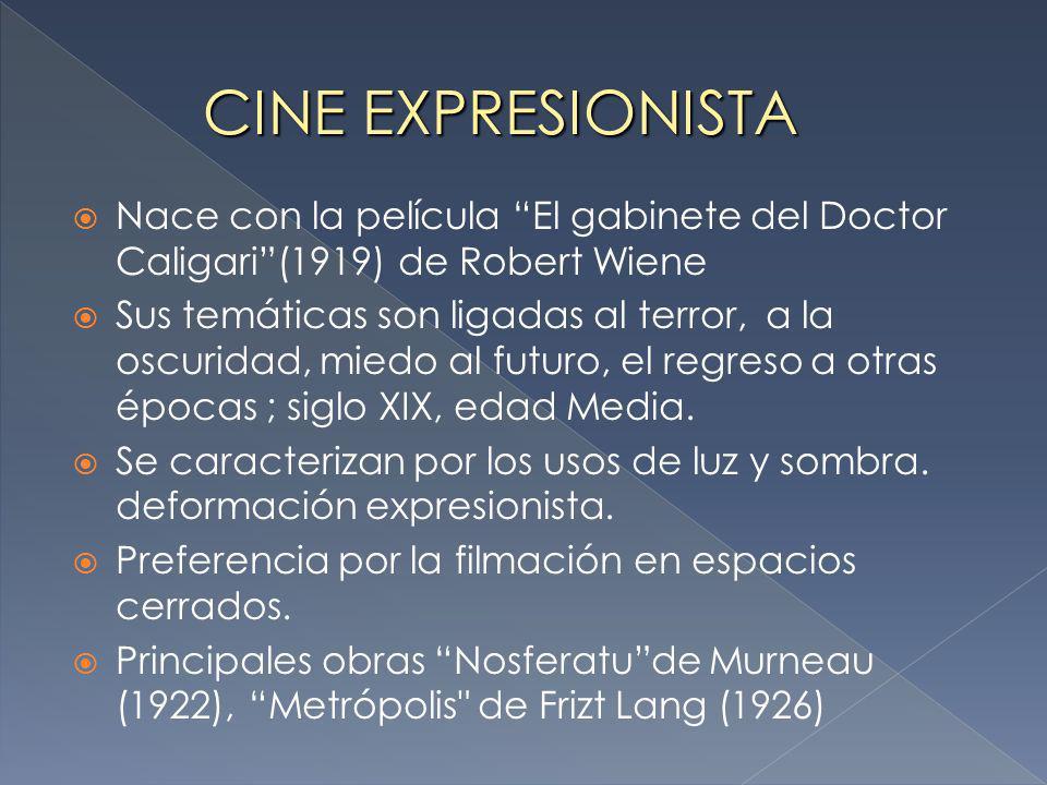 Nace con la película El gabinete del Doctor Caligari(1919) de Robert Wiene Sus temáticas son ligadas al terror, a la oscuridad, miedo al futuro, el regreso a otras épocas ; siglo XIX, edad Media.