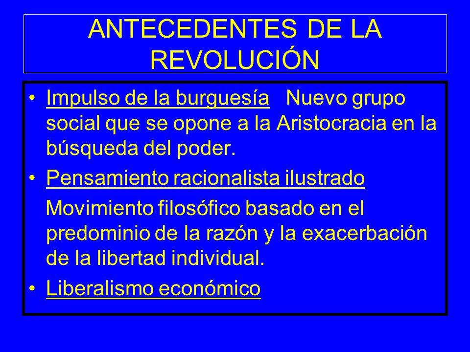 ANTECEDENTES DE LA REVOLUCIÓN Impulso de la burguesía Nuevo grupo social que se opone a la Aristocracia en la búsqueda del poder. Pensamiento racional