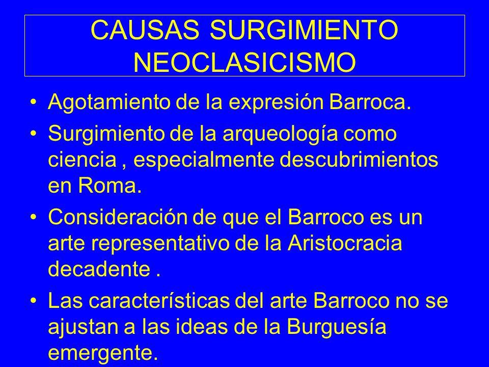 CAUSAS SURGIMIENTO NEOCLASICISMO Agotamiento de la expresión Barroca. Surgimiento de la arqueología como ciencia, especialmente descubrimientos en Rom