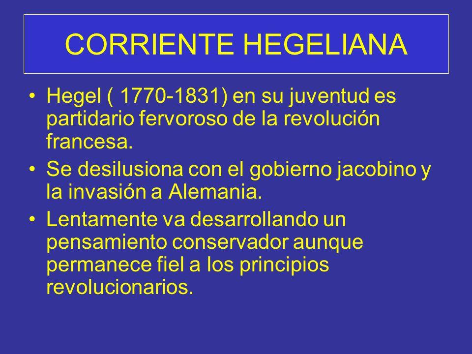 Hegel ( 1770-1831) en su juventud es partidario fervoroso de la revolución francesa.