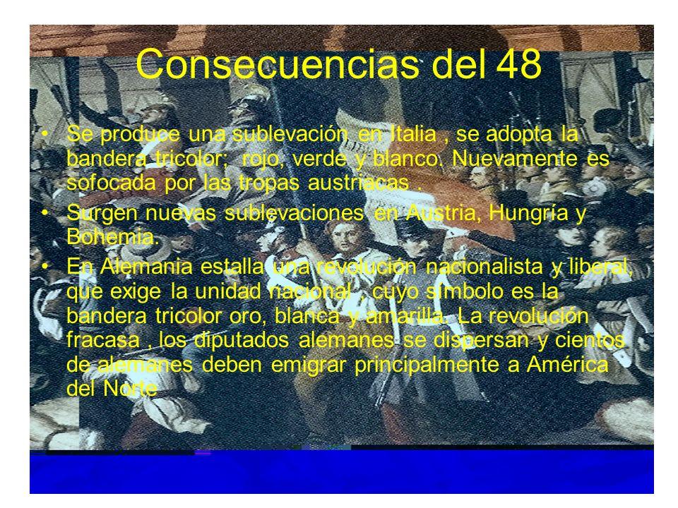Consecuencias del 48 Se produce una sublevación en Italia, se adopta la bandera tricolor; rojo, verde y blanco. Nuevamente es sofocada por las tropas