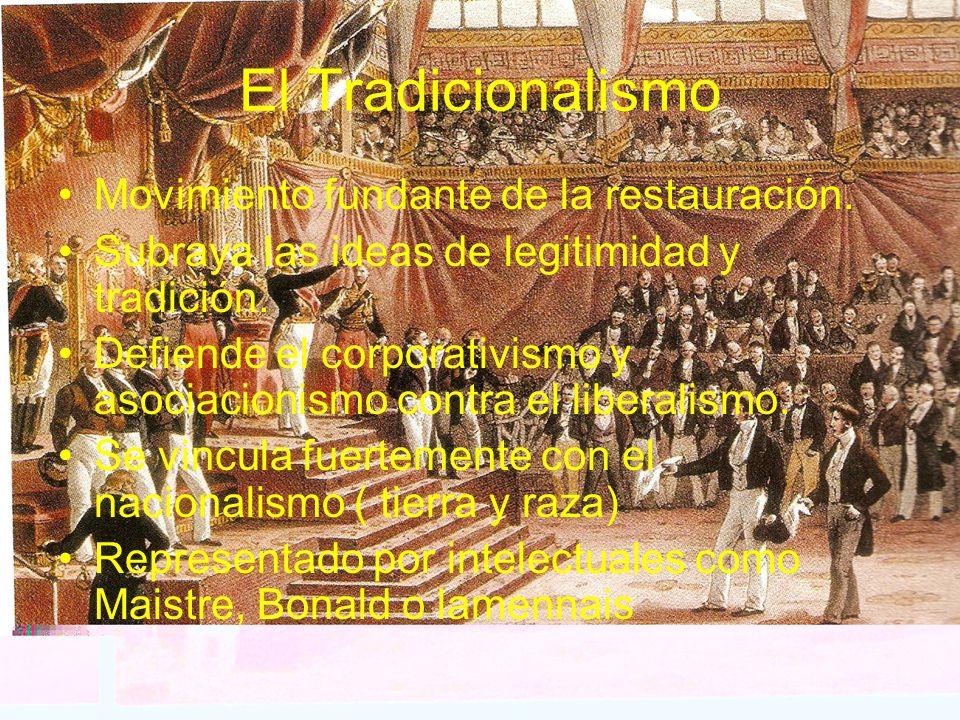 El Tradicionalismo Movimiento fundante de la restauración. Subraya las ideas de legitimidad y tradición. Defiende el corporativismo y asociacionismo c